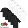 10 camisetas hombres Fruit of the Loom, Talla S, Blanco/ Negro