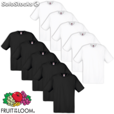 10 camisetas hombres Fruit of the Loom,Talla XL, Blanco/ Negro