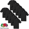 10 camisetas negras Fruit of the Loom de algodón 100%, tallas S