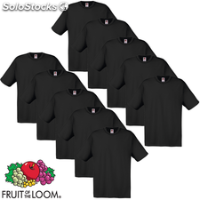 10 camisetas negras para hombres Fruit of the Loom algodón L