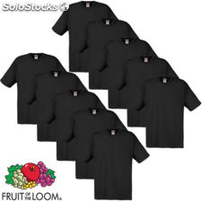 10 camisetas negras para hombres Fruit of the Loom algodón XL