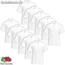 10 camisetas polo hombres Fruit of the Loom, talla XL, Blanco