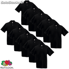 10 camisetas polo hombres Fruit of the Loom, talla XXXL, Negro