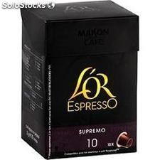 10 capsules cafe moulu l'or espresso supremo maison du cafe