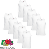 10 Fruit of the Loom T-shirt mangas cavas algodão, branco, S