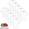 10 T-Shirt Fruit of the Loom Original 100% algodão branco, M