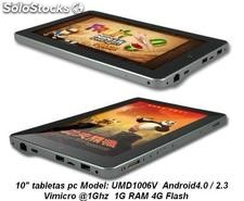 "10""umd tablet pc android4.0/2.3 Vimicro Vc882 1Ghz 1g/4g wifi hdmi gps resistiva"