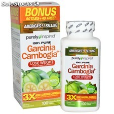 100 tabletas garcinia cambogia frasco 1600mg + cafe verde 200mg + calcio 280mg