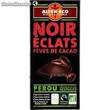 100G chocolat noir feves cacao bio alter eco
