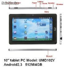 10pul mid umd tabletas pc android2.3 1Ghz 512m 4gb wifi gps hdmi camara