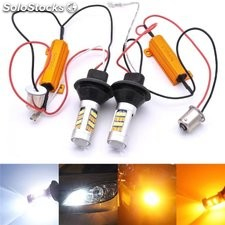 1156 BA15S 3156 7440 blanco+amarillo 2835-42smd luz diurna LED Luz intermitente