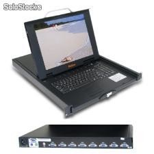 15'' lcd kvm de 8 puertos switch, integrado en dc / ac power supply