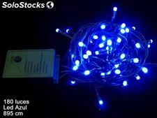 180 luces LED fijas cadena azul 895cm