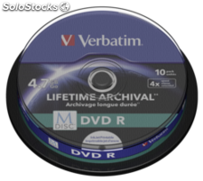 1x10 Verbatim M-Disc DVD R 4,7GB 4x Speed, bobina printable