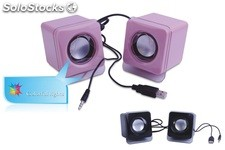 2.0ch multimedia altavoces pc speaker hh003 con colorido led luces