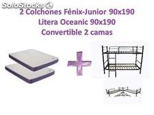 2 colchones visco fénix-junior y litera oceanic 90x190 (convertible 2 camas)