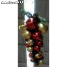 2 grappe boules rouge et or