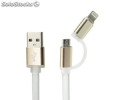 2 in 1 Synchronisation & Ladekabel für iPhone & Android - Lightning & micro USB