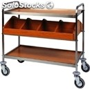 2-shelf cartering trolley with cutlery drawer - mod. ca1180 - stainless steel