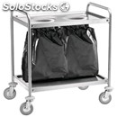 2-shelf catering trolley - mod. ca1391s2 - stainless steel structure with bin