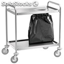 2-shelf catering trolley - mod. ca13s - stainless steel structure with bin bag