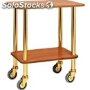 2-shelf gueridon trolley - mod. co902 - brass struts - n. 2 walnut veneered