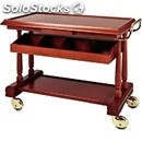2-shelf solid wood catering trolley with cutlery drawer - mod. lpp415 - veneered