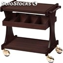 2-shelf wooden catering trolley with cutlery drawer - mod. cl2591 - birch