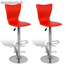 2 tabourets de bar pivotants en forme de L rouges ajustables