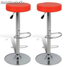 2 tabourets de bar rouges ronds en cuir artificiel