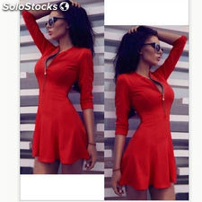2016 Fashion Women Dress Solid Pleated V-neck Sexy Ladies Dresses Evening Party
