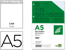 29109 Recambio liderpapel din-a5 100 h liso 6 taladros con margen papel 100