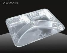 3 compartmental foil tray with lid take away food foil tray aluminum foil tray