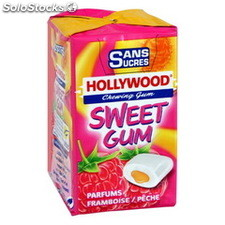 3 etuis dragee sans sucre sweet gum framboise/peche hollywood