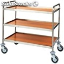 3-shelf catering trolley - mod. ca1051 - stainless steel trolley - veneered