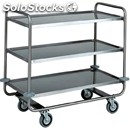 3-shelf catering trolley - mod. ca1431 - extra thick round tubular stainless