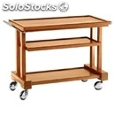 3-shelf solid wood catering trolley walnut - mod. lp1050 - birch plywood shelves