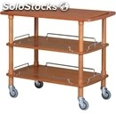 3-shelf wooden catering trolley - mod. clp3 - solid wood structure - birch