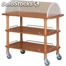 3-shelf wooden catering trolley with display lid - mod. clc3 - trolley for