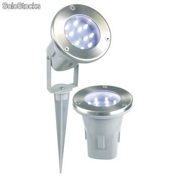 3x luces suelo 12 led 12v acero pulido jardin pincho for Luces led jardin