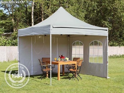 3x3 m gazebo pieghevole grigio con 2 parti laterali alu professional. Black Bedroom Furniture Sets. Home Design Ideas