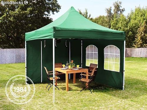 3x3 m gazebo pieghevole verde scuro con 2 parti laterali alu professional. Black Bedroom Furniture Sets. Home Design Ideas
