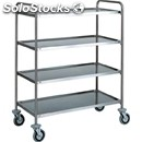 4-shelf catering trolley - mod. ca1424 - extra thick round tubular stainless