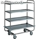4-shelf catering trolley - mod. ca1432 - extra thick round tubular stainless