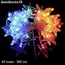 40 luces LED estrellas multicolor 390cm