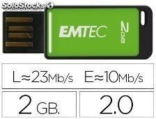 46109 Memoria usb emtec flash 2gb 2.0 em-desk 23mb/s verde