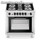 5-burner cooker with electric convection oven - cod. kcv 96 - capacity n.4 trays