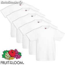 5 camisetas blancas infantiles Fruit of the Loom tallas 128