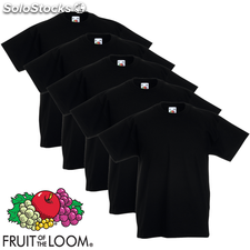 5 camisetas negras infantiles Fruit of the Loom, tallas 152
