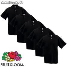 5 camisetas polo para hombres Fruit of the Loom, talla XL, Negro